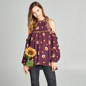 Boho  cold-shoulder Floral Print